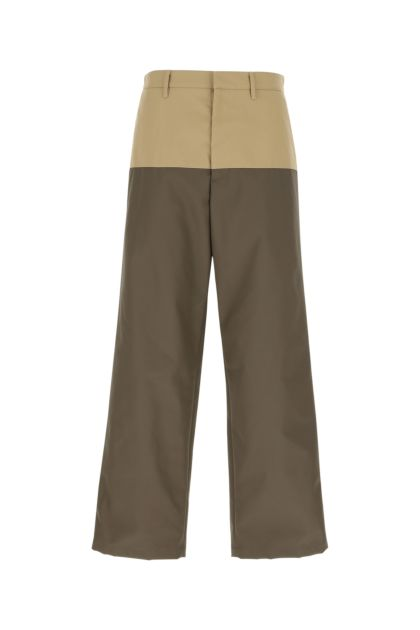 Two-tone gabardine and coated canvas pant