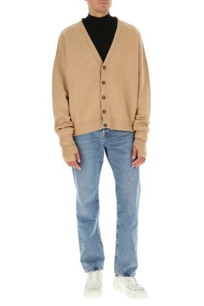 Beige wool blend oversize cardigan