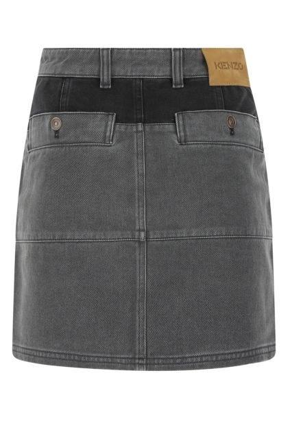 Two-tone denim mini skirt
