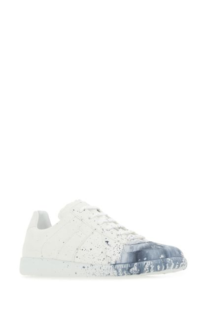 White canvas Replica Paint Drop sneakers