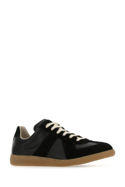 Black leather and suede Replica sneakers