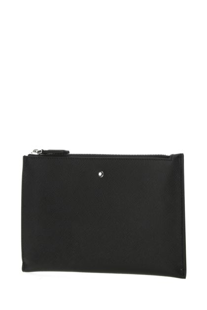 Black leather small Sartorial clutch