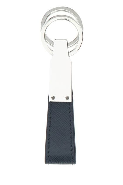 Navy blue leather Sartorial key ring