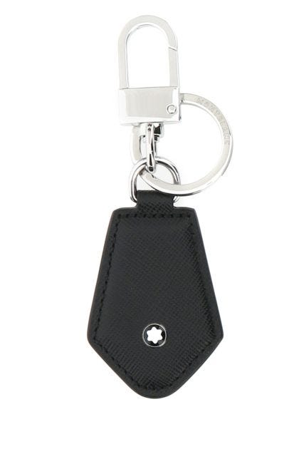 Black leather Sartorial key ring