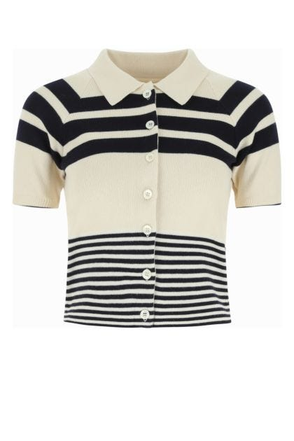 Embroidered cotton blend polo shirt