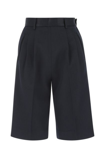 Midnight blue gabardine bermuda shorts