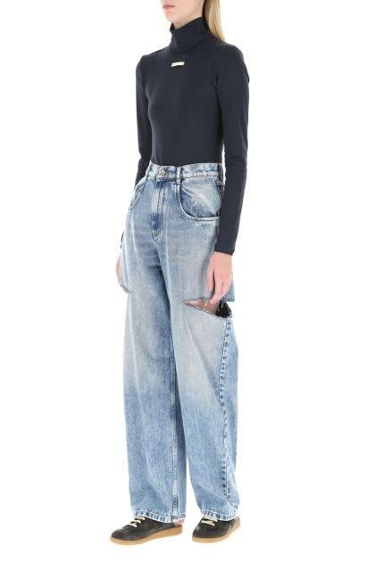 Midnight blue stretch nylon bodysuit