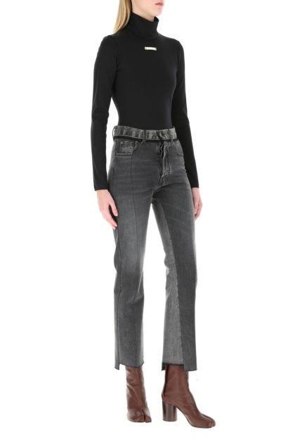 Black stretch nylon bodysuit