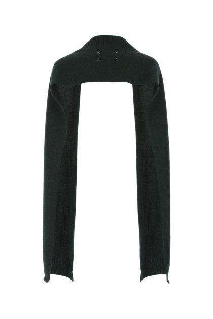 Melange dark green stretch wool scarf
