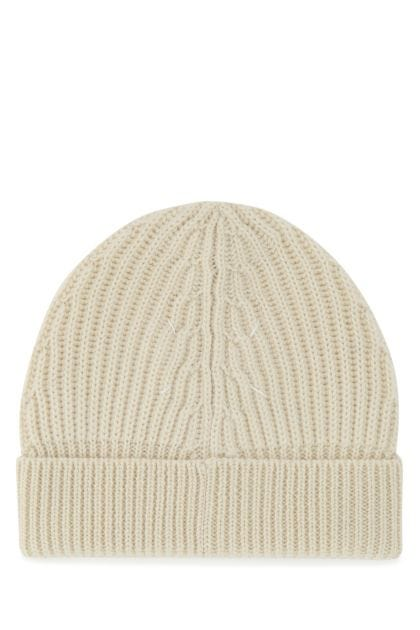 Ivory stretch wool beanie hat