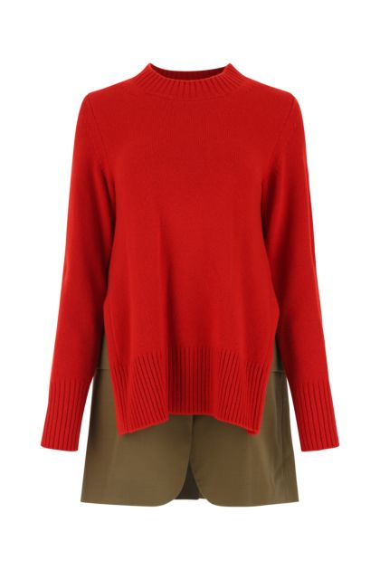 Two-tone wool and polyester sweater