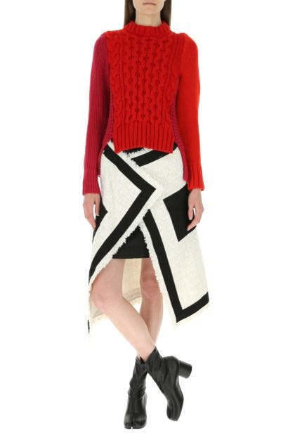 Two-tone wool and wool blend sweater
