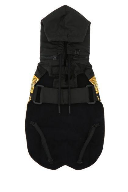 Black polyester dog raincoat