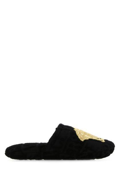 Black cotton Medusa slippers