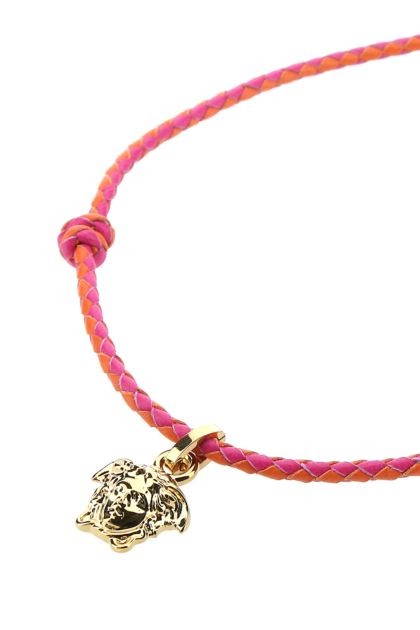 Two-tone leather necklace
