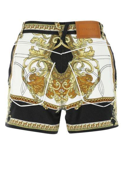 Printed stretch denim shorts