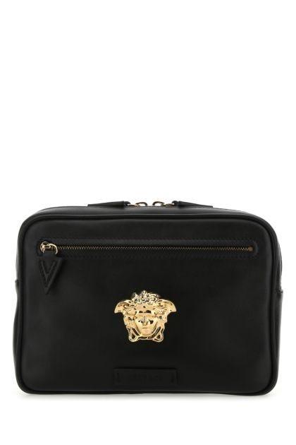 Black leather La Medusa belt bag