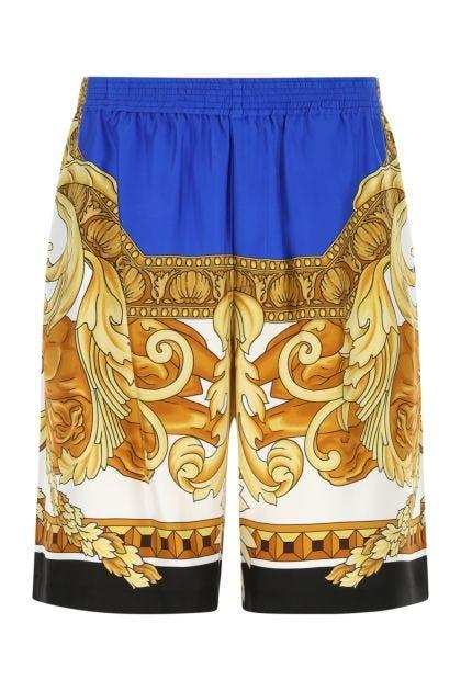 Printed satin bermuda shorts