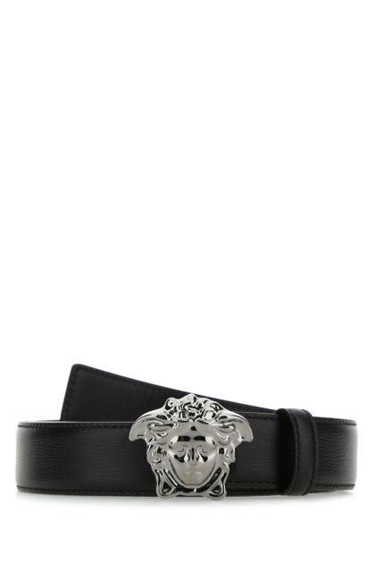Black leather La Medusa belt