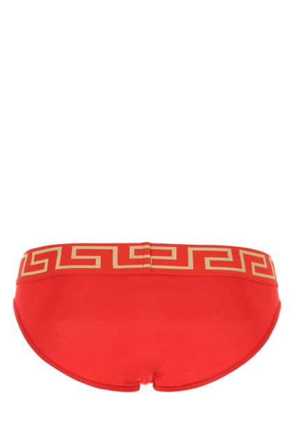 Red stretch cotton brief