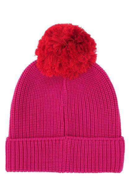 Fuchsia wool beanie hat