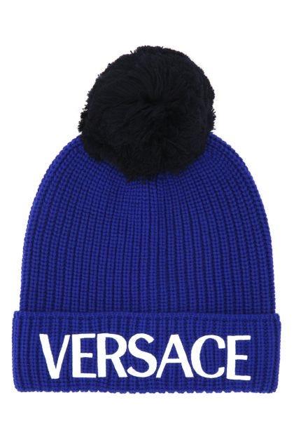 Electric blue wool beanie hat