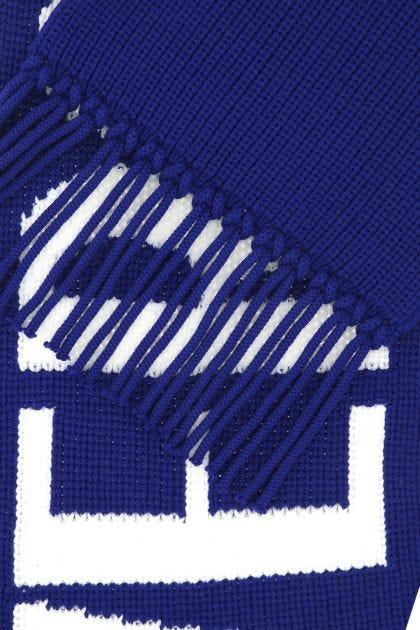 Electric blue wool scarf