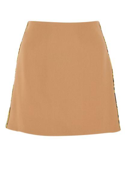 Beige acetate blend mini skirt
