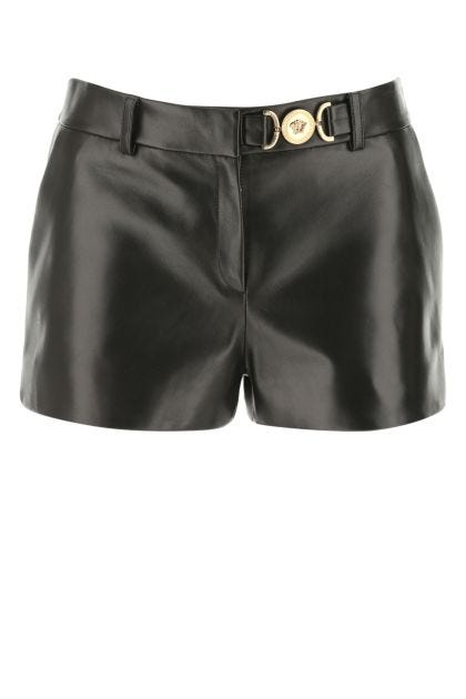 Black nappa leather shorts