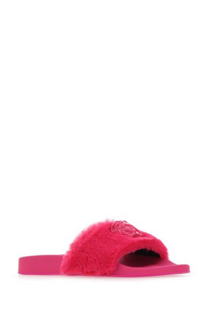 Fuchsia synthetic fur La Medusa slippers