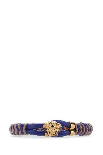 Two-tone leather Medusa bracelet