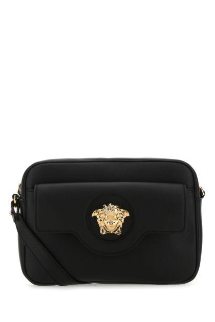 Black leather La Medusa crossbody bag