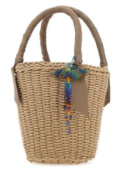 Biscuit straw handbag