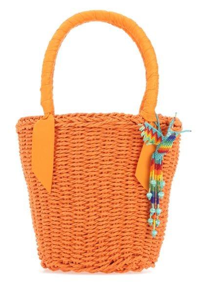 Orange straw handbag