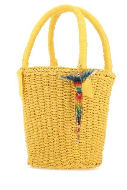 Yellow straw handbag