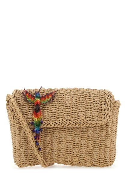 Biscuit straw shoulder bag
