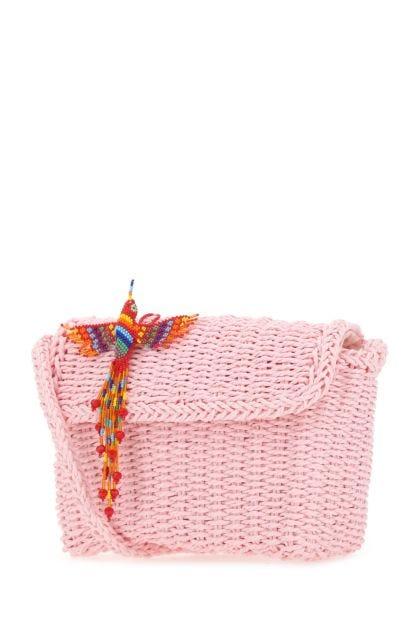 Pink straw shoulder bag