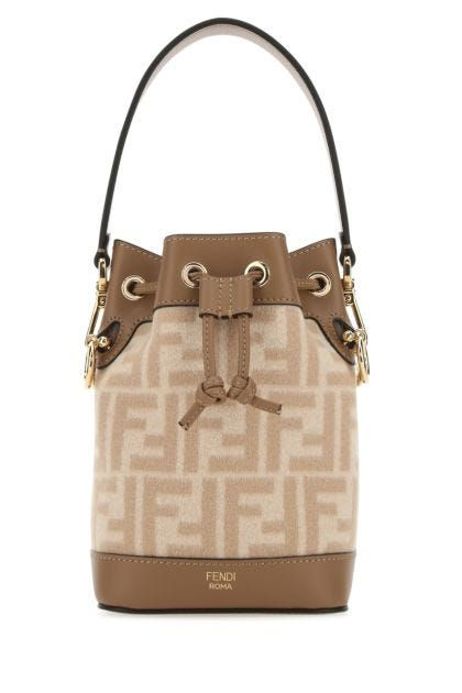 Multicolor flannel and leather mini Mon Tresor bucket bag