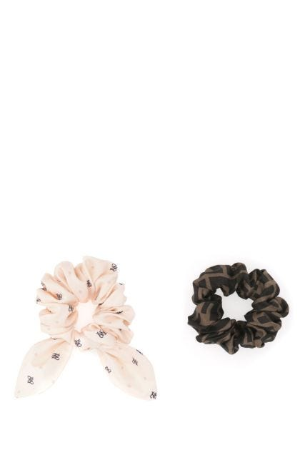 Printed silk scrunchies set