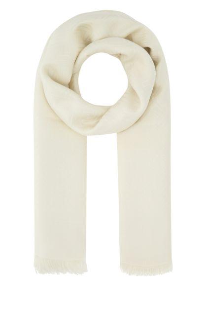 Ivory silk blend scarf