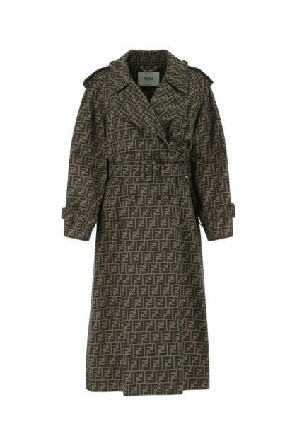 Embroidered polyester blend trench coat