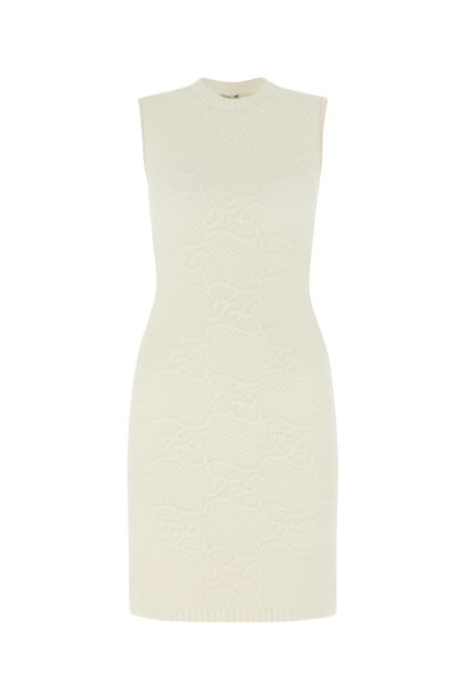 White stretch wool blend dress