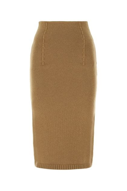 Biscuit cashmere skirt