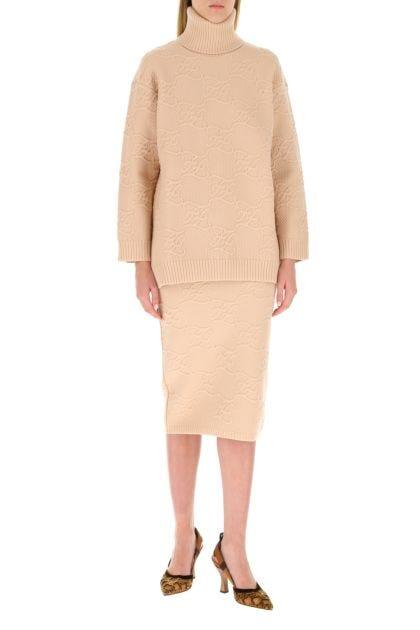 Powder pink stretch wool blend skirt