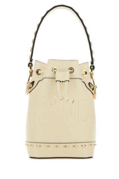 Ivory leather mini Mon Tresor bucket bag