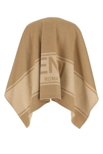 Two-tone wool blend cape