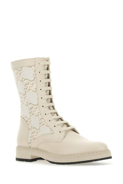 Multicolor leather and fabric boots