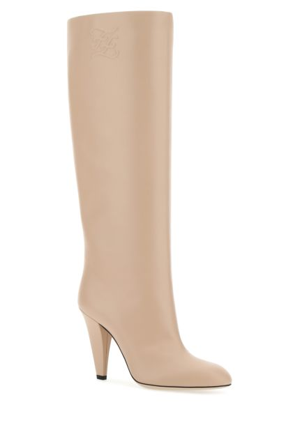 Powder pink leather boots