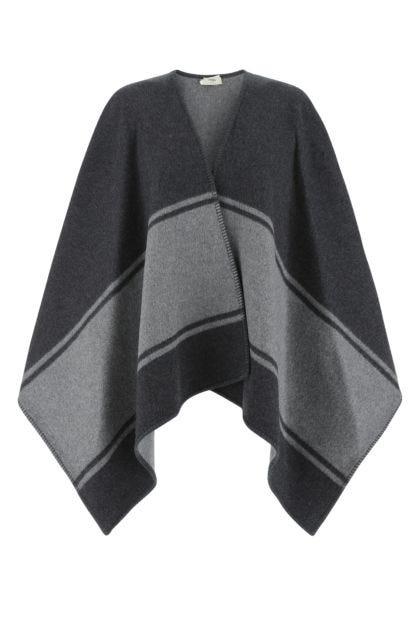 Two-tone wool blend reversibile cape