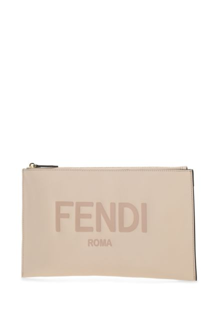 Powder pink leather pouch